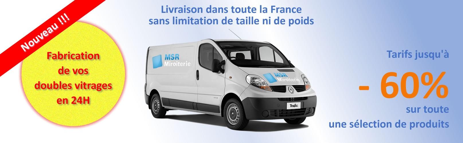 Fabrication doubles vitrages en 24h, livraison dans toute la France et jusqu'à 60% de réduction